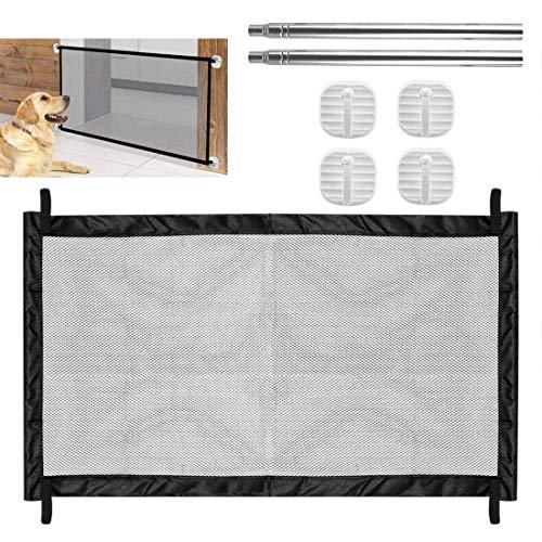 Cancello per cani, FayTun Guardia di sicurezza per animali domestici Barriera per cani portatile, Barriera per scale per cani con serratura e installazione facile per scala Porta interna 110 x 72 cm
