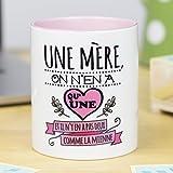 Nos pensées - Tasse avec Message et Dessin Amusant - (Une mère, on n'en a qu'une et il n'y en a Pas Deux comme la mienne) - Cadeau Original pour Une Maman