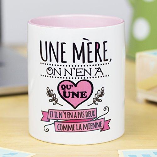 Nos pensées - Tasse avec Message et Dessin Amusant (Une mère, on n'en a qu'une et il n'y en a Pas Deux comme la mienne) Cadeau Original pour Une Maman
