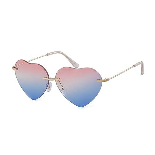 145f980dfead ADEWU Love Heart Rimless Sunglass Women Girl Colorful Gradient Glasses