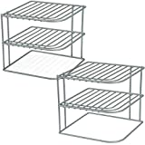 DecorRack 2 Kitchen Corner Shelves, Countertop and Cabinet Organizer, Heavy Duty Metal Corner Rack, 3-Tier, Wire Storage Helper Shelf for Counter Top, Cupboards and Pantry, 9 x 9 x 8 inch (2 Pack)