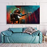 ganlanshu Arte Chimpancé Música Lienzo Pintura Mono Gorila Cartel Sala de Estar Arte de la Pared Decoración Moderna del hogar Pintura sin Marco 21cmX35cm