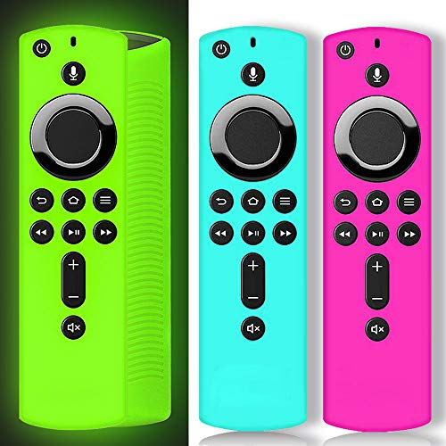 ONEBOM Silicone Cover Case 3 Pack,Firestick Remote Cover,FiretvRemotes for TV Firestick 4K / TV 2nd Gen (3rd Gen Pendant Design) Remote Control (Green Glow & Rose RED+Sky Blue Not Glow)