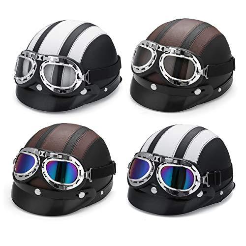 HobbyAnt Motorradhelm, Halbhelm, offenes Gesichtsschutz, Visier mit UV-Brille für Harley – NO. 03#