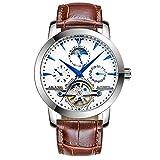 Relojes De Pulsera,Reloj Mecánico Automático Tourbillon Reloj Casual De Negocios Impermeable con Espalda Hueca, Correa De Cuero Blanco De Concha Blanca