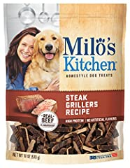 Contains one 18-Ounce Milo's Kitchen steak grillers beef recipe with angus steak dog treats Wholesome and delicious Made in the USA and meets the applicable standards and specifications of the USDA, the FDA and the AAFCO Customer satisfaction guarant...