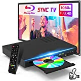 2020 New Blu Ray DVD Player with HDMI AV Port Bundle Cables, 1080P DVD Player DTS Sound Effect for TV, Built-in PAL NTSC Coaxial 2.0 USB, Blu Ray Region A/1, Non-Blu Ray Discs in Region Free, EVP-101