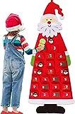 QYY Calendario dell'Avvento in Feltro Natale, 3.8Ft Calendario dell'Avvento da Riempire Babbo Natale da Appendere a Parete con Decorazioni Natalizie per Conto alla rovescia per 24 Giorni