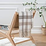 Battilo Buffalo Plaid Throw Blanket for Couch - Farmhouse Check Pattern - Soft Woven with Decorative Fringe - Lightweight for Bed, Sofa, Chair, Office, Outdoor (Taupe&White, 50'x60')