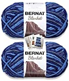 Bernat Blanket Yarn - Big Ball (10.5 oz) - 2 Pack with Pattern Cards in Color (North Sea)