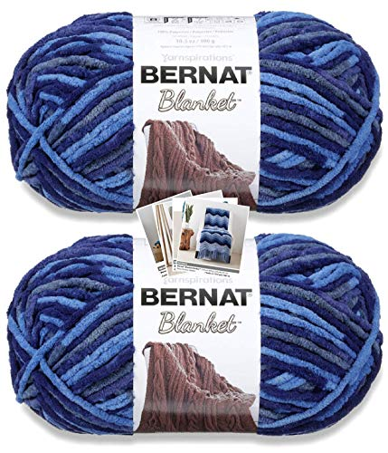 Bernat Blanket Yarn - Big Ball (10.5 oz) - 2 Pack with Patterns (North Sea)