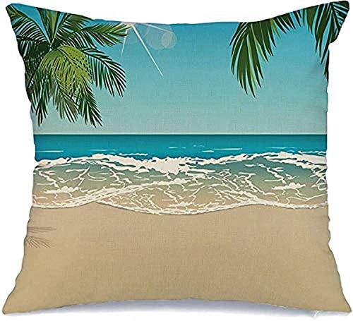 Funda de almohada decorativa de poliéster Lagoon Paradise Tropical Beach Tropic Relax Sun Copy Space Sky Nature Coco Relajación Agua Día Cuadrado Cojín Funda de almohada (45 x 45 cm)