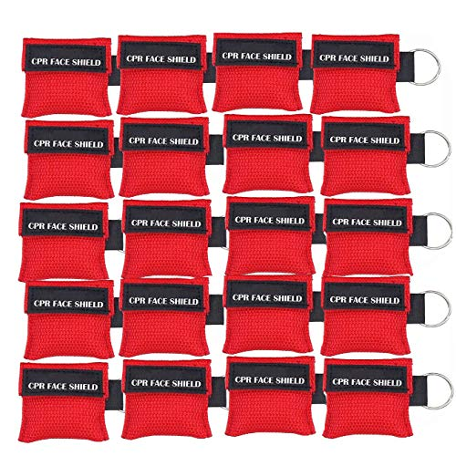 LSIKA-Z 20pcs CPR Face Shield Mask Keychain Keying Emergency Kit CPR Face Shields Pocket Mask for First Aid or CPR Training (Red-20)