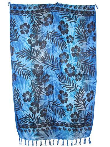 Sarong Pareo Hibiskus Batik Style II blau-hellblau-Petrol/große Auswahl schönste Farben/Wickelrock Strandtuch Sauna-Tuch Wickelkleid Schal Wickeltuch Bademode Freizeitmode Sommermode/aus 100% Viskose