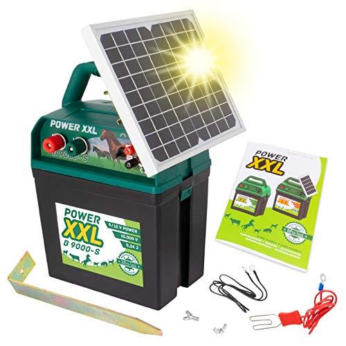 Power XXL B 9.000-S Solar-Weidezaungerät 9V/12V Megapower, Hocheffektives Solarmodul, Perfekt für Pferde-, Ponyzaun