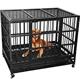 Lemberi Heavy Duty Dog Cage Crate, Pet Kennel Strong Metal for Training Large Dog, Easy to Assemble, with Two Prevent Escape Lock, Lockable Wheels, Removable Tray for Indoor Outdoor (42in, Black)