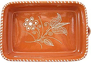 Vintage Portuguese Traditional Clay Terracotta Pottery Roasting Tray Cazuela Made In Portugal (N.1 11 1/4 x 8 1/4 x 2 3/4