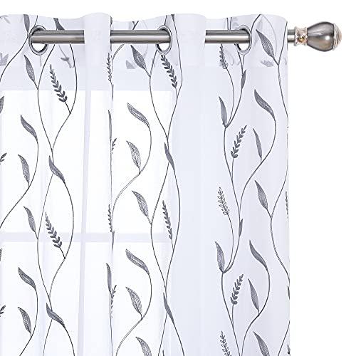 Amazon Brand – Umi Cortinas Translucidas Decorativas con Motivos Espiga de Trigo con Ojales 2 Piezas 140x180cm Gris