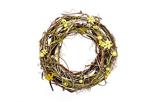 Corona de Decoración con Flores de Madera y Bolas – como Corona de Puerta, decoración de Habitaciones y Mesa para Primavera y Verano