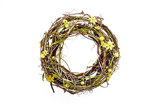 HEITMANN DECO Türkranz mit Holz-Blumen und Kugeln - Wandkranz, Raumschmuck und Tischdeko, Ostern, Frühling, Sommer