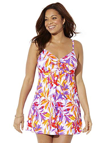Swimsuits For All Women's Plus Size Tie Front Underwire Swimdress 14 Pink Orange Floral