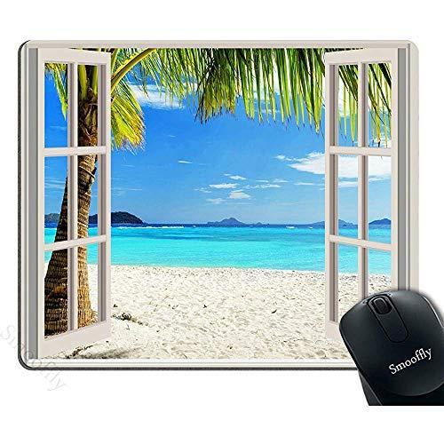 Gaming Mouse Pad Aangepast, Ocean Mouse Pad,Tropische palmbomen op een eiland strand door witte houten ramen anti-slip rubberen muismat