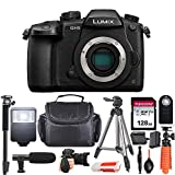 Panasonic Lumix DC-GH5 Mirrorless Micro Four Thirds Digital Camera (Body Only) USA Model + Essential Starter Accessory Bundle incl. Microphone, 128GB Memory Card, Gadget Bag, Slave Flash & More