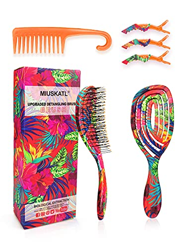 Hair Detangling Brush – Vented Design Detangling Hairbrush and Wide Tooth Comb for Women, Kids, Wet, Dry, Curly…