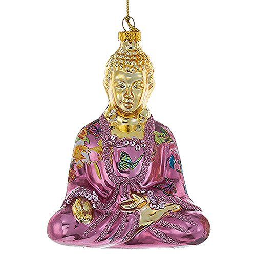 Kurt Adler Glass Buddha Ornament 5.25' Oriental Asian Themed Christmas Ornament Purple