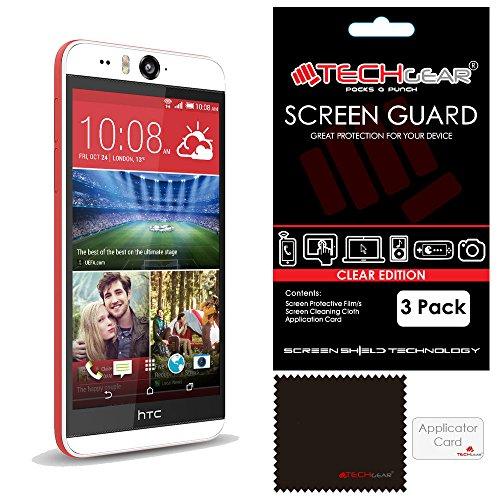 TECHGEAR [3 Stück Displayschutz für HTC Desire Eye - Ultra Klare Schutzfolie - mit Reinigungstuch + Applikationskarte