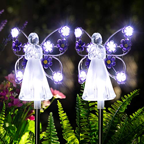 GIGALUMI Solar Angel Garden Stake Lights - 2 Pack Angel Solar Lights Outdoor Garden, Eternal Light Angel with 7 LEDs for Cemetery Grave Decorations, Memorial Gifts, Christmas Yard Art, Sympathy Gifts