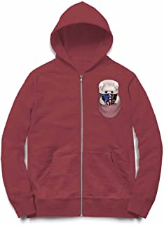 Fox Republic ポメラニアン 星条旗 アメリカ ポケット バーガンディー キッズ パーカー シッパー スウェット トレーナー 150cm
