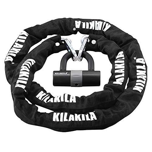 KILAKILA Security Chain Lock Heavy Duty Bike Lock 10mm Bicycle Lock Motorbike Lock Disc Lock with 16mm U Lock 6.56-Feet