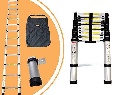 Leogreen - Telescopic ladder, Ausziehbare Leiter, 3,8 Meter, GRATIS Tragetasche, Maximalbelastung: 150 kg, Gefaltete Größe: 88 x 48.5 x 9 cm
