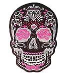 Parche Calavera Rosa Negro Cráneo - 24.5 cm X 17 cm XL Tamaño Grande - Parche para ropa Parches Bordados Parche Termoadhesivo Aplicación Apliques Mochila Bolso Jeans Chaqueta Sombrero – Treasure-Quest
