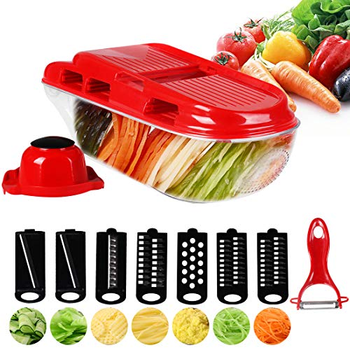 MIGECON Manual 7 in 1 Mandoline Slicer Adjustable Thickness Vegetable Chopper Multi Blade Cutter for Potato Cucumber Cabbage Carrot Garlic