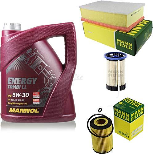 Filter Set Inspektionspaket 5 Liter MANNOL Motoröl Energy Combi LL 5W-30 API SN/CF MANN-FILTER Luftfilter Ölfilter Kraftstofffilter
