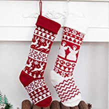 Beyond Your Thoughts 2019 New Knitted Christmas Stockings Extra Large Ornament Decorations for Family Holiday Season Decor Christmas Bags Christmas Deer and Christmas Gingerbread Man
