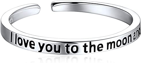 ChicSilver Sterling Silver Ring, Engraved I Love You to The Moon and Back Eternity Ring Open Adjustable Rings for Women Men