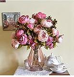 Moonuy 1 Bouquet 8 Têtes Pivoine Romantique Artificielle Fleur de Soie Feuille Maison Mariage Party Decor Fleur artificielle de haute qualité de couleur Rétro européenne de pivoine de noyau (Rose vif)
