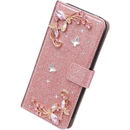Herbests Kompatibel mit Samsung Galaxy S9 Hülle Klapphülle 3D Glänzend Bling Diamant Strass Schmetterling Muster Schutzhülle Bookstyle Flip Cover Leder Hülle Kartenfach Ständer,Rose Gold