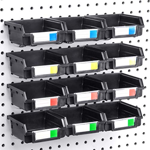 Right Arrange Pegboard Bins - 12 Pack Black - Hooks to Any Peg Board - Organize Hardware Accessories Attachments Workbench Garage Storage Craft Room Tool Shed Hobby Supplies Small Parts