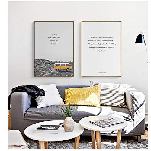 SHUTIAOQUN Nordic Art Poster Art Canvas Art Pictures Canvas Schilderij No Frame bus Kleur Liefde Reis Huis Picture Wall Print 50 x 70 cm * 2 Frame