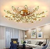 Diy FamilyModern Crystal LED Ceiling Lamp,Leaf Flush Mount Ceiling Light Fixture Decorative Crystal Chandelier For Dining Room Bedroom Livingroom Pendant Light(18-head) Gold