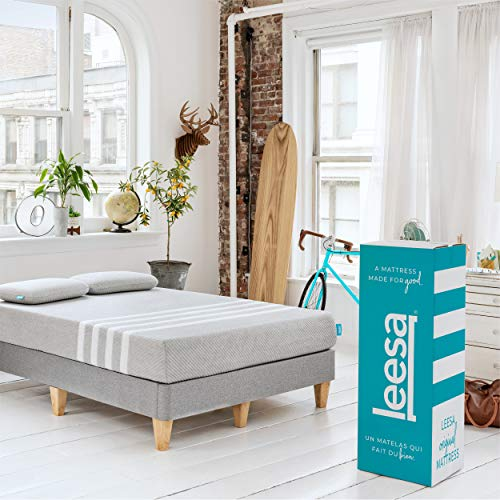 Leesa in a Box Mattress, Queen, Gray & White