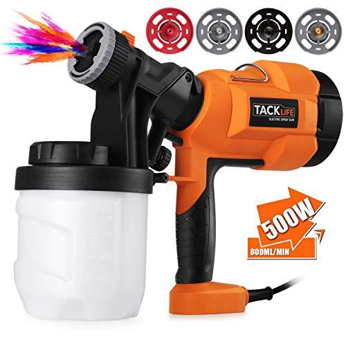 Paint Sprayer, High Power HVLP Home Electric Spray Gun,Adjustable Valve Knob, Quick Refill Lid,4 Nozzle Sizes-TACKLIFE SGP15AC