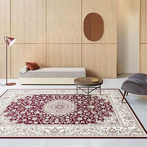 Antideslizantes alfombras Alfombra Dormitorios Alfombra Roja Beige Decoración Rectangular Vintage Dormitorio Sala Estar alfombras Salon Pelo Corto 120X160CM