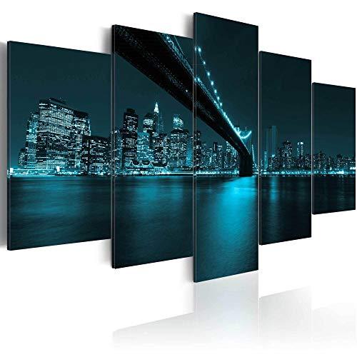 runtooer Bilder Dekorative Malerei Spray Malerei Leinwand Malerei 5 Stück Modern New Yorker Blues Leinwand Wandbild, Möbel Art Deco, Rahmen