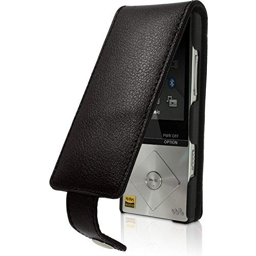 igadgitz U3521 Funda de Cuero Genuina y Protector de Pantalla Compatible con Sony Walkman NWZ-A15, NWZ-A17, NW-A25, NW-A27 - Negro