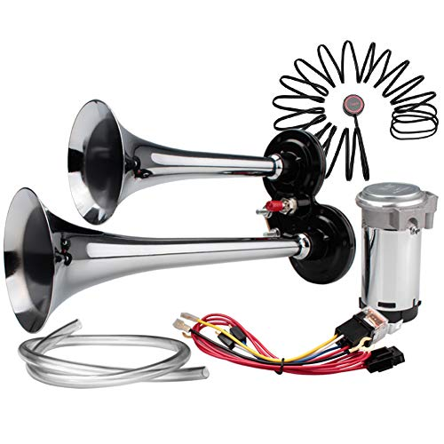 FARBIN Air Horn 12V Loud Car Horn kit,Chrome Zinc Dual Trumpet with Compressor Wire Harness and Switch,for Any 12V Vehicles Trucks Cars SUV RV Motorcycles Off Road (12V, Standard Edition + Button)